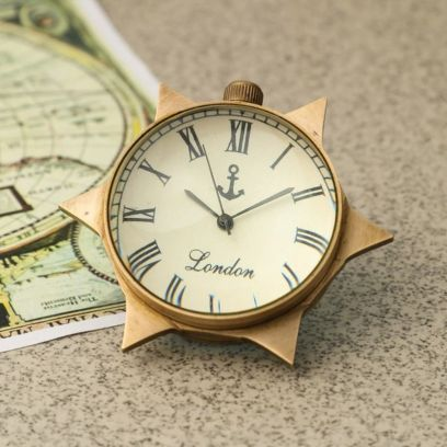 Keeratly Star Shape Antique Brass Table Clock