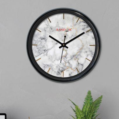 Black Colour White Marble Design Round Plastic wall clock