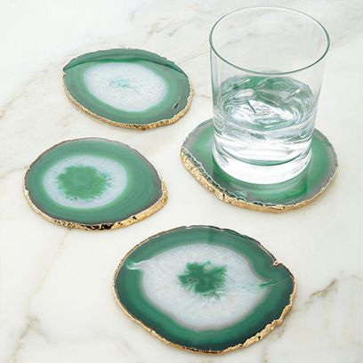 Agate Gem Therapy Green Coasters - Set of 2