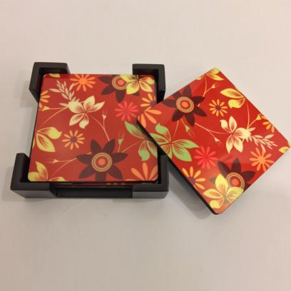 Floral Print Wooden Coasters with Stand - Set of 6