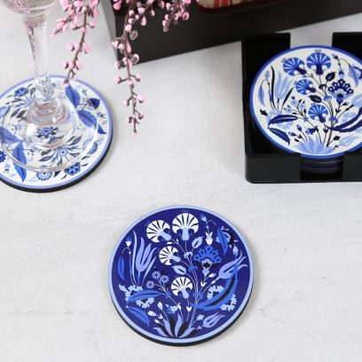 Iznik Wooden Coasters with Stand - Set of 6