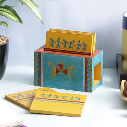 Warli Wooden Yellow Blue Coasters - Set of 6