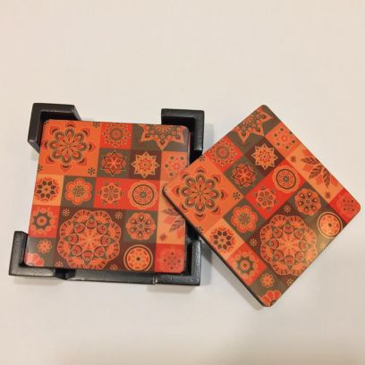 Wooden Digital Printed Coasters with Stand - Set of 6