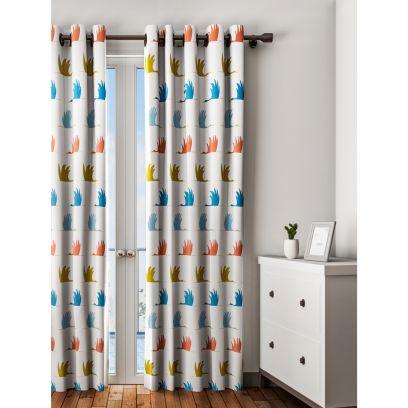 Designer curtain online in blue and orange bird print