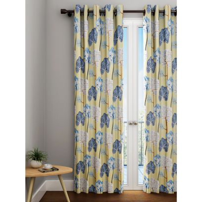 Abstract Tree Print Yellow and Blue Eyelet Curtain