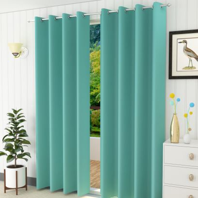 Curtains: Best Curtains Upto 55% Off Aqua Colour Solid Polyster Door Curtains