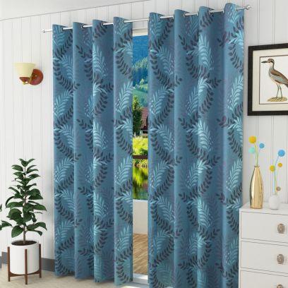 Aqua Floral Design Door Curtains (84 x 44 inch) - Set of 2