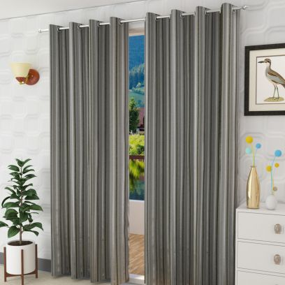 Black Colour Striped Door Curtains (84 x 44 inch) - Set of 2