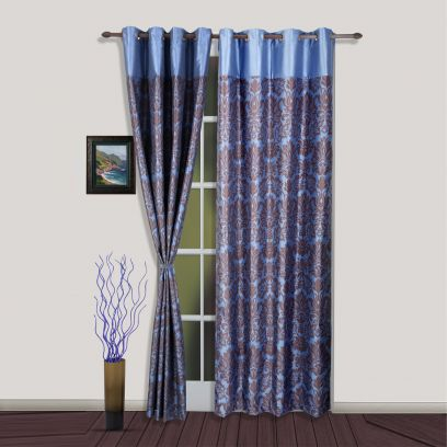 Latest Collection Of Modern Curtains of Blue and Brown Premium Quality Damask