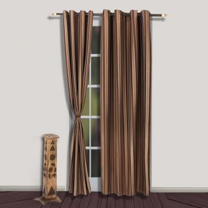 curtain designs for living room: Brown Premium Quality Striped Long Door Curtains with Brass Eyelets @ upto 55 % OFF