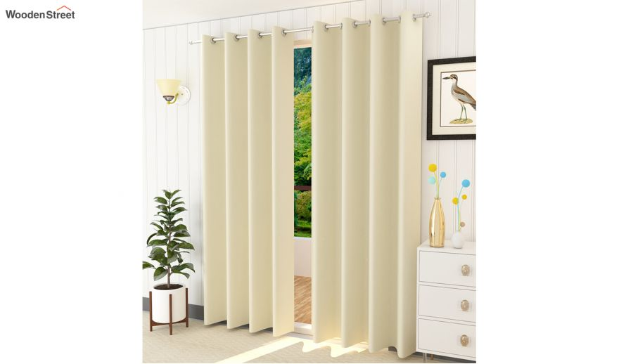 Cream Colour Solid Polyster Door, 84 In Curtains