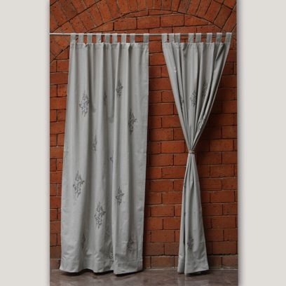 Grey Blend Hand Embroidered Cotton Curtain (90 x 52 inch)