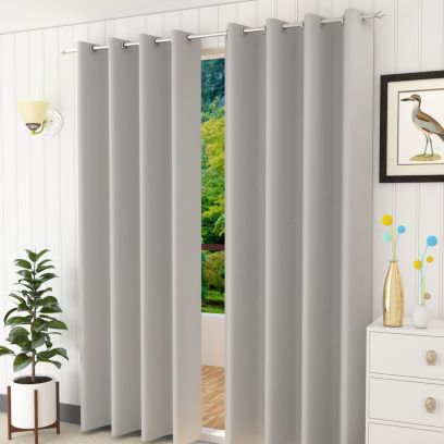 Grey Colour Solid Polyster Door Curtains (84 x 44 inch) - Set of 2