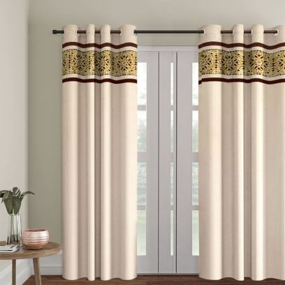 Ivory and Gold Semi Blackout Embroidered Long Door Curtain (108 x 54 inch)