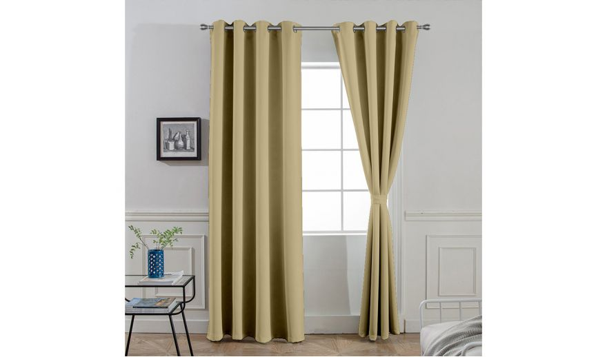 Khaki Polyster Long Door Curtains, 84 In Curtains