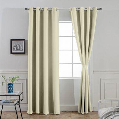 Light Beige Polyster Long Door Curtains - Set of 2 (84 x 49) inch
