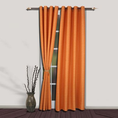 Orange Premium Quality Plain Long Door Curtains with Brass Eyelets (108 x 54 inch)