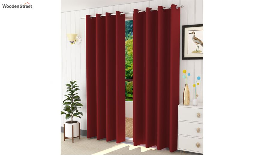 Red Colour Solid Polyster Door, 84 In Curtains