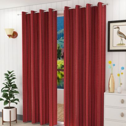 Red Colour Striped Long Door Curtains (108 x 44 inch) - Set of 2