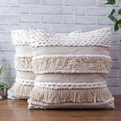 Cotton Multicolour Hand Woven Cushion Covers - Set of 2 (20 x 20 inch)