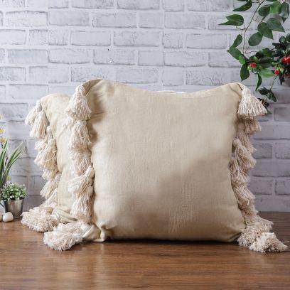 Cream Chenille Cotton Tassel Cushion Covers - Set of 2 (20 x 20 inch)