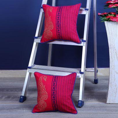 Maroon Screen Print Cushion Covers - Set of 2 (12 x 12 inches)