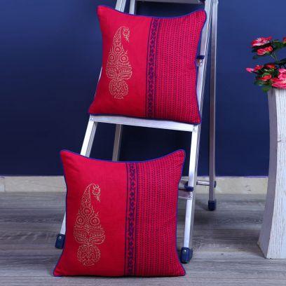 Maroon Screen Print Cushion Covers - Set of 2 (16 x 16 inches)