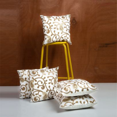 Off White and Gold Velvet Solid Cushion Covers - Set of 5 (16 X 16 Inch)