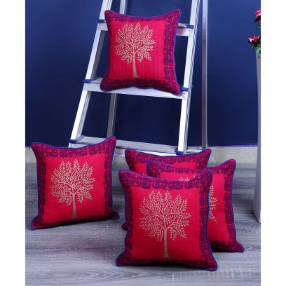 Pink Screen Print Cushion Covers - Set of 5 (12 x 12 inches)