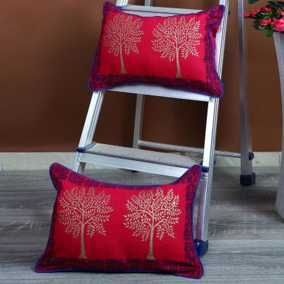 Pink Screen Print Cushion Covers - Set of 2 (12 x 18 inches)