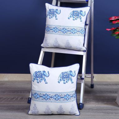 Sky Blue and White Screen Print Animal Pattern Cushion Cover - Set of 2 (16 x 16 inches)