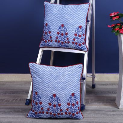 Sky Blue Cotton Screen Print Cushion Cover - Set of 2 (16 x 16 inches)
