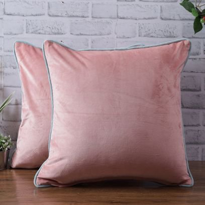 Velvet Peach Color Cushion Covers - Set of 2 (18 x 18 inch)