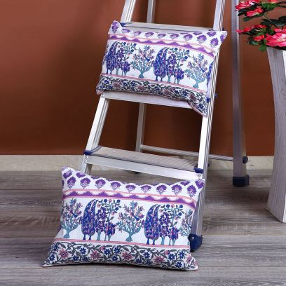 White and Indigo Screen Print Cushion Covers - Set of 2 (12 x 18 inches)