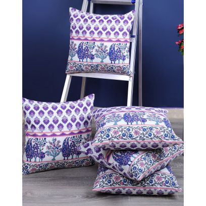 White and Indigo Screen Print Cushion Covers - Set of 5 (16 x 16 inches)
