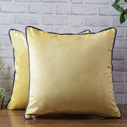 Yellow Color Velvet Cushion Covers - Set of 2 (18 x 18 inch)