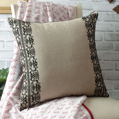 Beige Organic Chambray Embroidered Cushion Cover