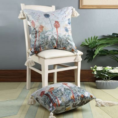 Blue and Grey Digital Print Velvet Reversible Cushion Covers - Set of 2 (18 x 18 inches)