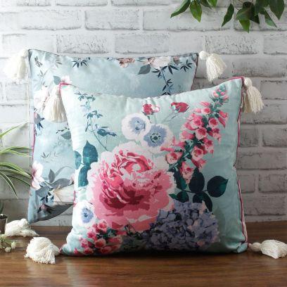 Blue Digital Print Velvet Reversible Cushion Cover - Set of 2 (18 x 18 inches)