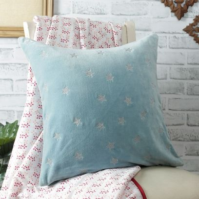 Blue Embroidered Organic Cotton and Velvet Cushion Cover
