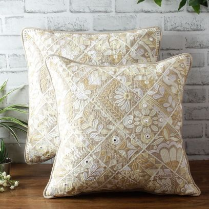 Embroidered Beige Cotton Cushion Covers - Set of 2 (18 x 18 inches)