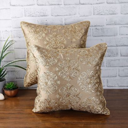 Gold Colour Embellished Cushion Covers - Set of 2 (16 x 16 inches)