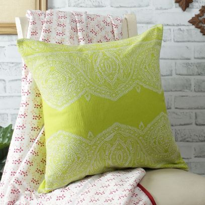 Green Embroidered Organic Cotton Cushion Cover