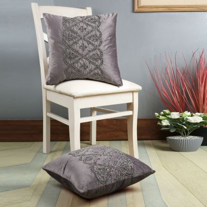 Grey Beaded Designer Velvet Cushion Covers - Set of 2 (16 x 16 inches)