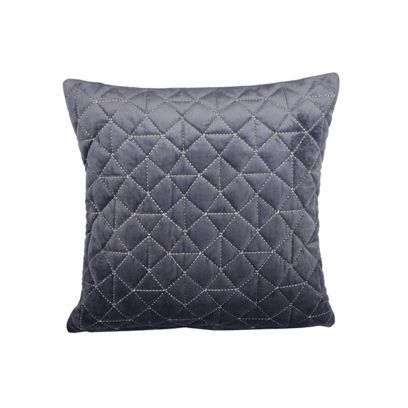 Grey Velvet Quilted Cushion Cover (18 x 18 inches)