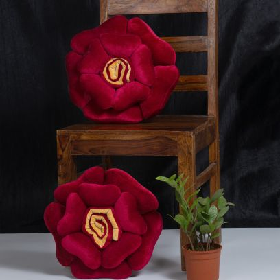 Maroon and Yellow Velvet Floral Cushions - Set of 2 (16 X 16 Inch)