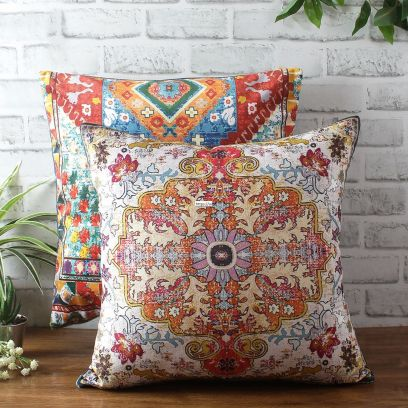 Multicolor Digital Print Reversible Cushion Cover (18 x 18 inches)