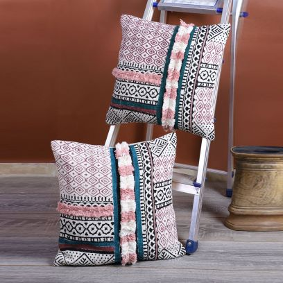 Multicolour Cotton Hand Block Printed Cushion Covers - Set of 2 (18 x 18 inches)