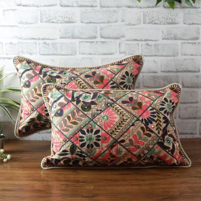 Multicolour Embroidered Cotton Cushion Covers - Set of 2 (20 x 12 inches)