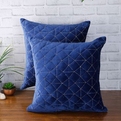 Navy Blue Velvet Quilted Cushion Covers Online Shopping